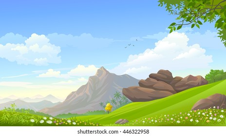 An august mountain touching the blue skies and overlooking vast serene green fields