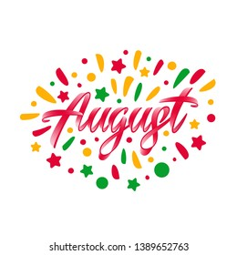 August text. Lettering typography. Vector illustration as poster, postcard, greeting card, invitation template. Concept September advertising