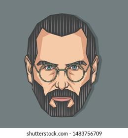August,2019 : Portrait of Steve Jobs in Symmetrical Style