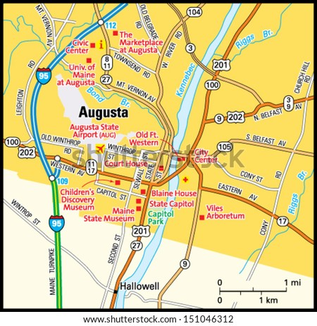 Augusta Maine Area Map Stock Vector Royalty Free 151046312