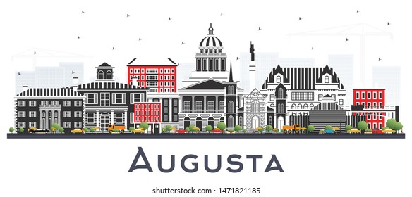 Augusta Maine City Skyline with Color Buildings Isolated on White. Vector Illustration. Business Travel and Tourism Concept with Historic Architecture. Augusta USA Cityscape with Landmarks.