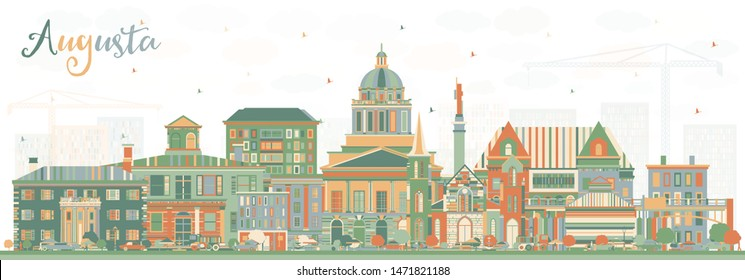 Augusta Maine City Skyline with Color Buildings. Vector Illustration. Business Travel and Tourism Concept with Historic Architecture. Augusta USA Cityscape with Landmarks.