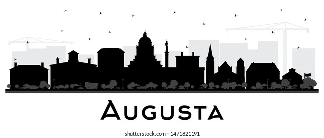 Augusta Maine City Skyline Silhouette with Black Buildings Isolated on White. Vector Illustration. Business Travel and Tourism Concept with Historic Architecture. Augusta USA Cityscape with Landmarks.