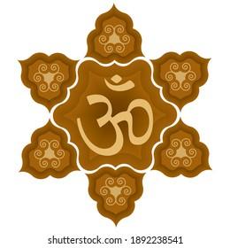 Aum, Om or Ohm Symbol Vector Illustration. Spiritual Buddhist, Hindu Om Symbol Isolated On White Background