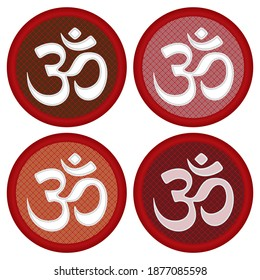 Aum Om Symbol Vector Illustration. Om  Aum Symbol Of Hinduism With Seamless Pattern Isolated On White Background.