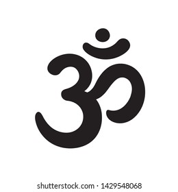 Aum sign, sacred religious symbol in Hinduism, hand drawn with soft round brush. Sanskrit mantra Om.