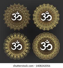 Aum Symbol Of Hindu Deity God Shiva Set Vector. Collection Of Aum Ohm Emblem On Different Lace Ornate Golden Circle On Background. Design Hinduism Religion Sign Flat Cartoon Illustration