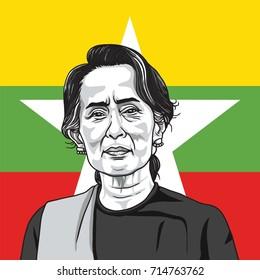 Aung San Suu Kyi on Myanmar Flag Background. Portrait Illustration Vector. September 14, 2017