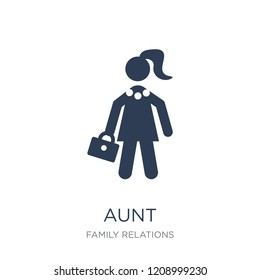 aunt icon. Trendy flat vector aunt icon on white background from family relations collection, vector illustration can be use for web and mobile, eps10