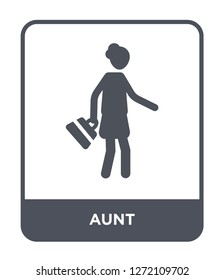 aunt icon vector on white background, aunt trendy filled icons from Family relations collection, aunt simple element illustration