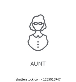 aunt linear icon. Modern outline aunt logo concept on white background from Family Relations collection. Suitable for use on web apps, mobile apps and print media.