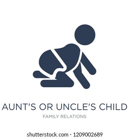 aunt's or uncle's child icon. Trendy flat vector aunt's or uncle's child icon on white background from family relations collection, vector illustration can be use for web and mobile, eps10