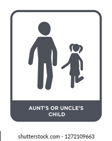 aunt's or uncle's child icon vector on white background, aunt's or uncle's child trendy filled icons from Family relations collection, aunt's or uncle's child simple element illustration