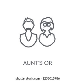 aunt's or uncle's child linear icon. Modern outline aunt's or uncle's child logo concept on white background from Family Relations collection.