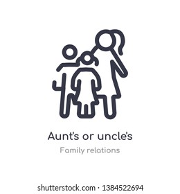 aunt's or uncle's child outline icon. isolated line vector illustration from family relations collection. editable thin stroke aunt's or uncle's child icon on white background