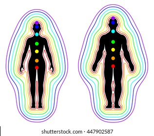 Aura and chakras on white background - vector