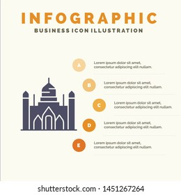Aurangabad Fort, Bangladesh, Dhaka, Lalbagh Solid Icon Infographics 5 Steps Presentation Background
