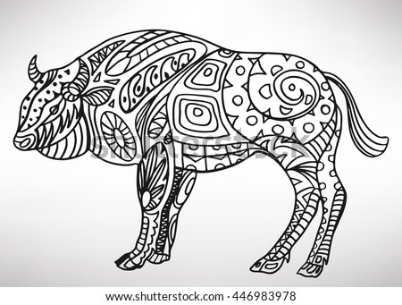 Aurochs Handdrawn Ethnic Pattern Coloring Page Stock Vector Royalty Beauteous Zendoodle Patterns