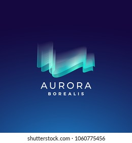 Aurora Borealis Abstract Vector Sign, Emblem or Logo Template. Premium Quality Northern Lights Symbol in Blue Colors with Modern Typography. On Dark Background.