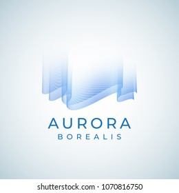 Aurora Borealis Abstract Vector Sign, Emblem or Logo Template. Premium Quality Northern Lights Symbol in Blue Colors with Modern Typography. Isolated.