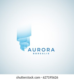 Aurora Borealis Abstract Vector Sign, Emblem or Logo Template. Premium Quality Symbol. Isolated.