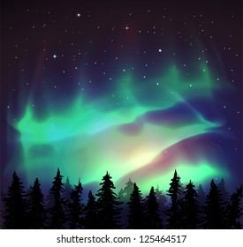 Aurora borealis background - vector illustration.