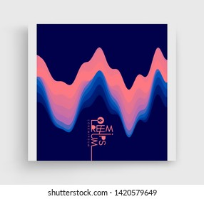 Aurora Borealis. Cover design template. Abstract wavy background with modern gradient colors. Trendy liquid design. Vector illustration.