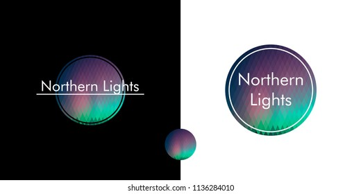 aurora borealis, northern lights, logo in the circle. polygon image from rhombuses