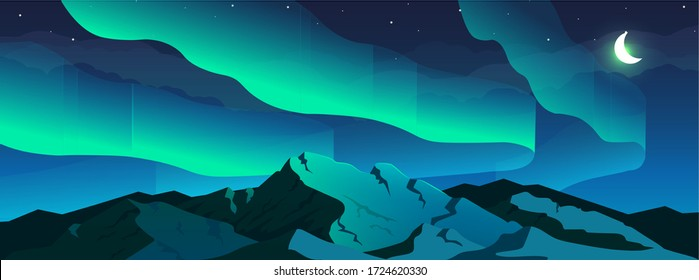 Aurora borealis phenomenon flat color vector illustration. Northern lights in sky and snowy mountain 2D cartoon night winter landscape with crescent moon and starry sky on background