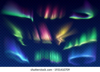 Aurora borealis polar lights set. Glowing in sky different shapes and color northern lights, aurorae natural phenomenon in atmosphere 3d realistic vector. Solar wind shine effect design elements