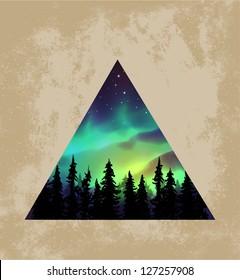 Aurora borealis triangle background - vector illustration.
