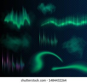 Aurora borealis vector illustration. Realistic set of the different northern light effects on the transparent background.