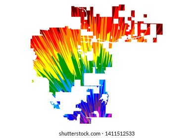 Aurora city (United States of America, USA, US, usa city)- map is designed rainbow abstract colorful pattern, City of Aurora map made of color explosion,