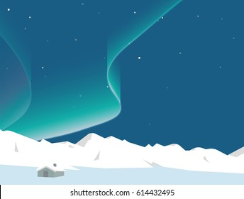 Aurora dancing above mountain and small house