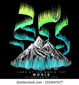 aurora polaris vector mountains forest snow peaks sketch print on clothes night beautiful wildlife poster art style fashion design