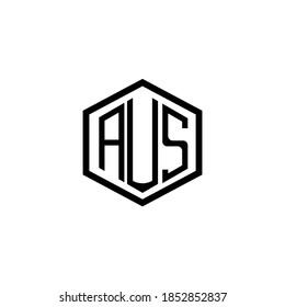 AUS letter icon design on RED background. Creative letter AUS/A U S logo design. AUS initials Logo design