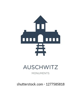 auschwitz icon vector on white background, auschwitz trendy filled icons from Monuments collection, auschwitz vector illustration