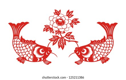 Auspicious double fish symbol for Chinese New Year ( Spring festival)