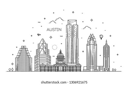 Austin architecture line skyline illustration. Linear vector cityscape with famous landmarks