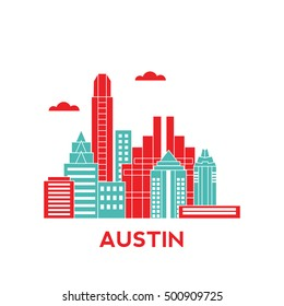 Austin city architecture retro vector illustration, skyline city silhouette, skyscraper, flat design