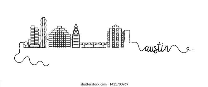 Austin City Skyline Doodle Sign