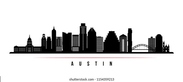 Austin city skyline horizontal banner. Black and white silhouette of Austin city, USA. Vector template for your design.