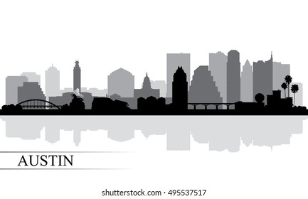 Austin city skyline silhouette background, vector illustration
