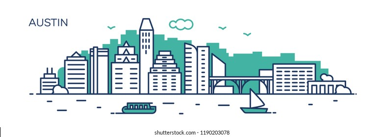 Austin panorama city. Flat line style. For banner, presentation, cards, web page. Vector illustration