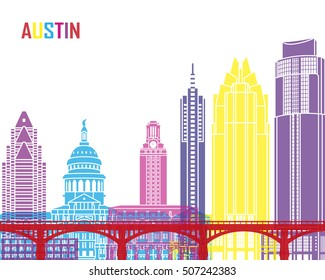 Austin skyline pop in editable vector file