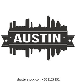 Austin Skyline Stamp Silhouette City
