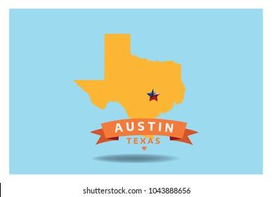 Austin Texas Map Vector EPS 10