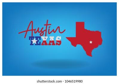 Austin Texas with Map Vector eps 10.