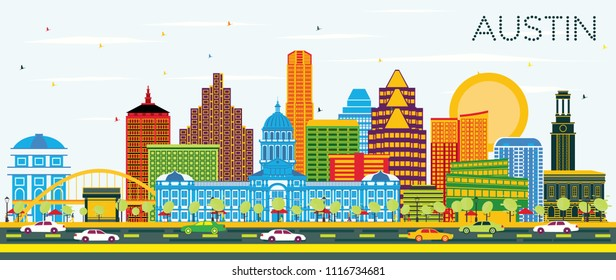Austin Texas Skyline with Color Buildings and Blue Sky. Vector Illustration. Business Travel and Tourism Concept with Modern Architecture. Austin Cityscape with Landmarks.