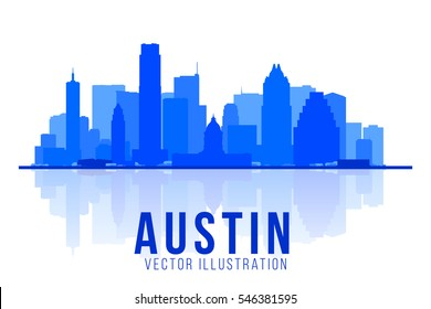Austin Texas skyline  silhouette vector illustration. Background with city panorama. Business travel and tourism concept with modern buildings. Image for presentation, banner, web site.